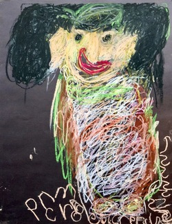Pancho Cruz, Untitled 1, crayon on paper, 26x20