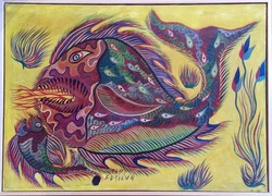 Untitled: Big Fish and Small Fish, gouache on canvas, 1972