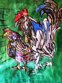Puerto Rican Hen and American Rooster, detail