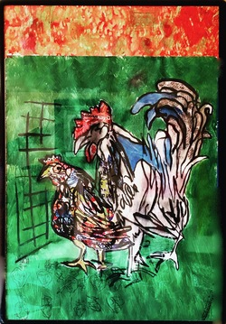 Puerto Rican Hen and American Rooster, mixed media and food labels