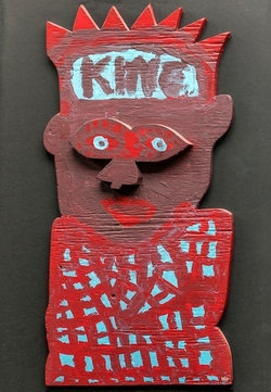 King, wood and paint, 1990's