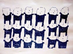 Donald  Mitchell, People in Rows, marker on paper