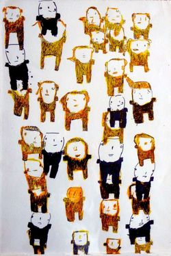 Donald Mitchell, Yellow People, marker and colored pen on paper