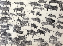 Donald  Mitchell, Horses, marker on paper, 1998