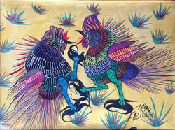 Untitled: Cockfight, Gouache on canvas, 1974