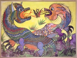 Untitled: Fighting Dragons, gouache on canvas, 197?